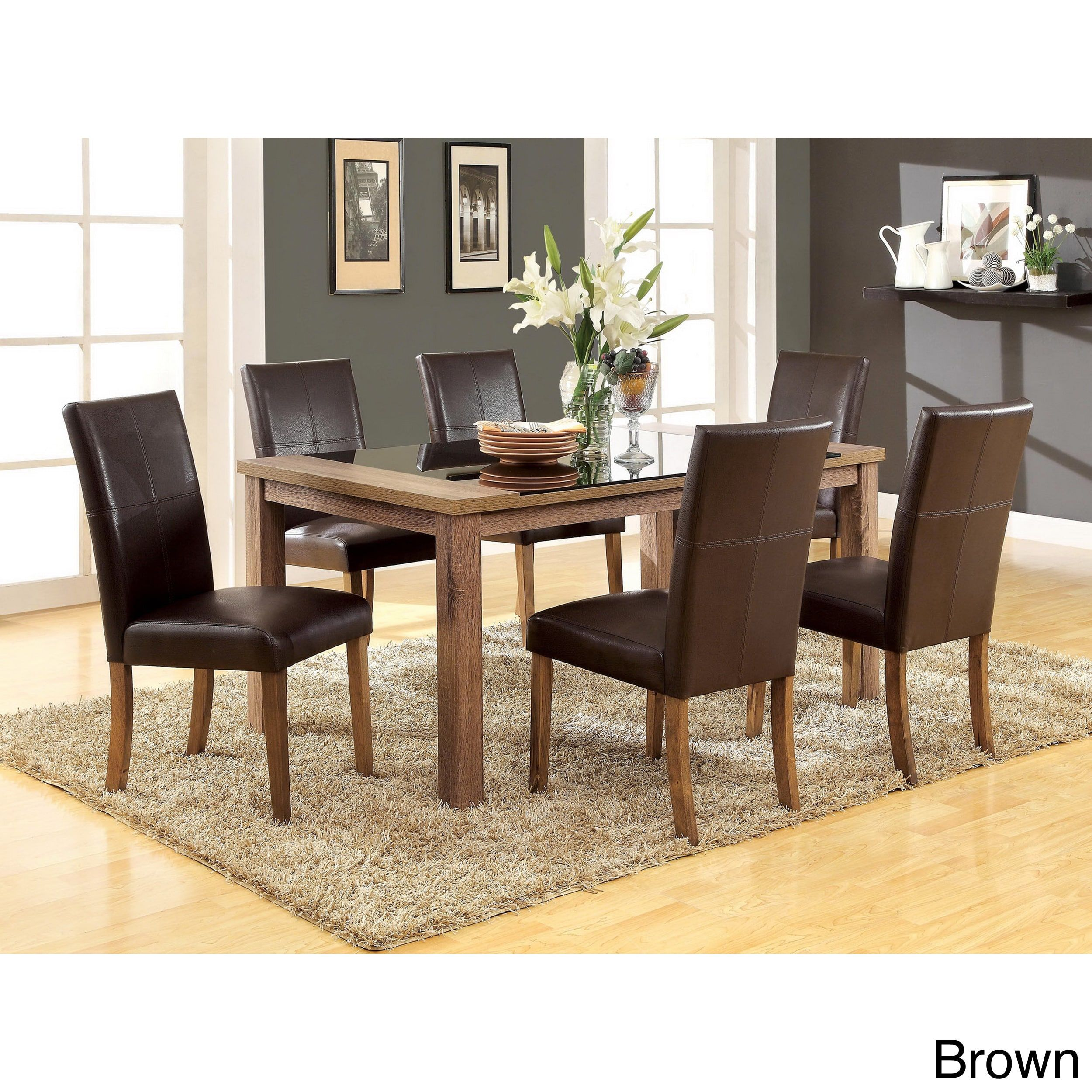 Furniture Of America Sundrey Transitional Light Oak 7 Piece Contemporary  Dining Set (Brown Leatherette Chair), Size 7 Piece Sets