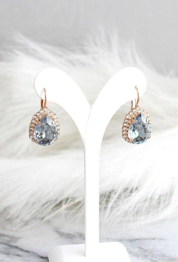 56de24fa0 Blue Earrings, Bridal Blue Shade Earrings, Blue Drop Earrings, Swarovski  Crystal Earrings,