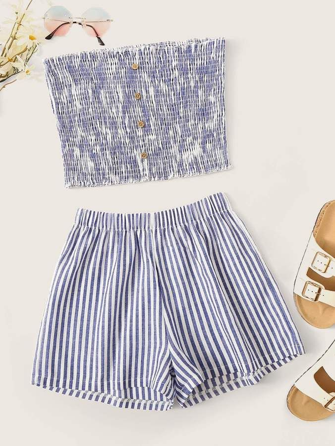 Shein Striped Button Front Shirred Tube Top & Shorts #tubetopoutfits