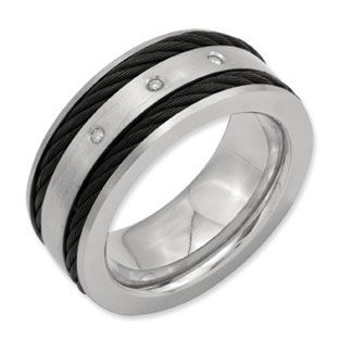 10MM Brushed Finish Mens Titanium Black Cable Diamond Ring Available Exclusively At Gemologica Men Wedding BandsWedding