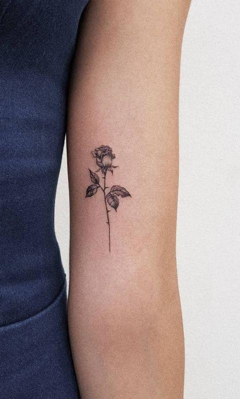 Minimal Rose Tattoo : minimal, tattoo, Minimalist, Tattoo, Artist, Cansuolga, 💕🌹💕🌹💕🌹💕🌹💕, Tattoos, Women,, Tattoos,, Design