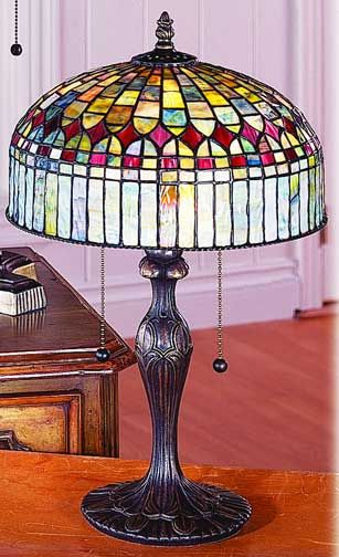 Tiffany Lamps Multi Colored Cathedral Table Lamp By Paul Sahlin