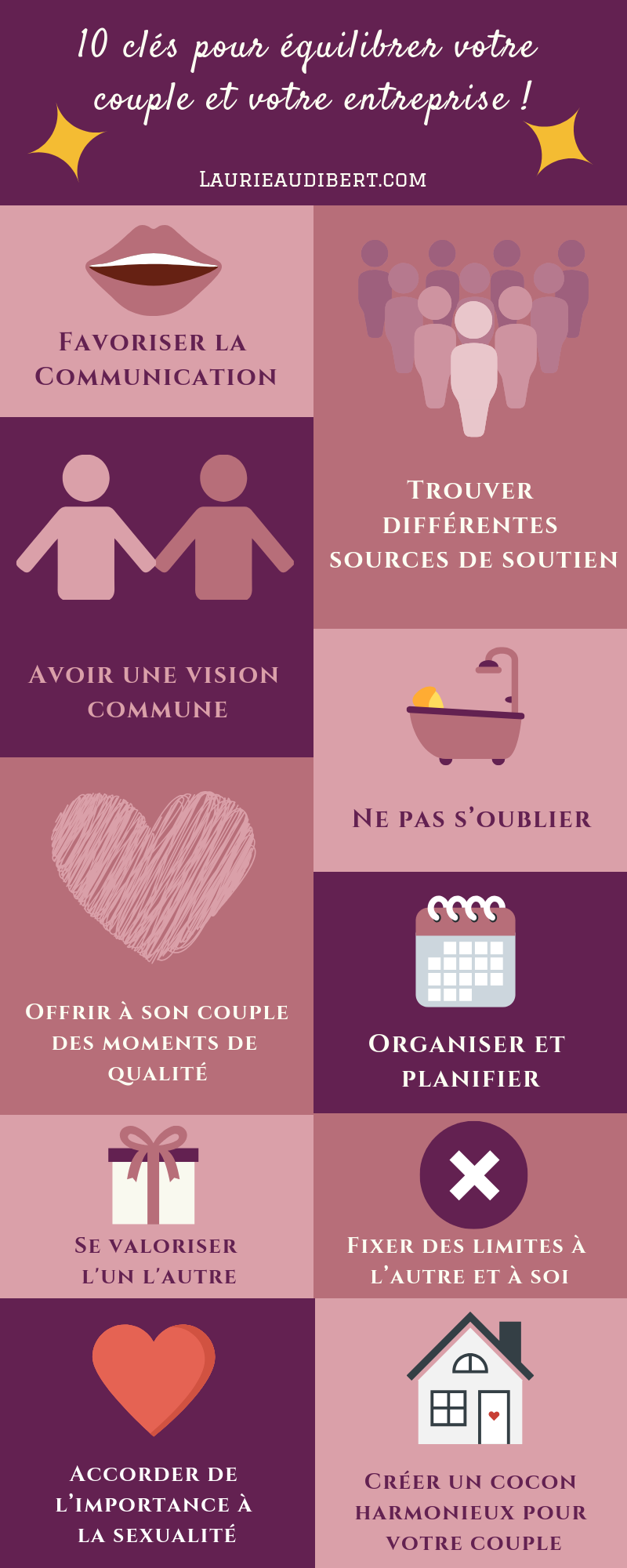 10 Cles Pour Equilibrer Votre Couple Et Votre Entreprise Laurie Audibert Coach Holistique Pour Entrepreneuses Couple Entrepreneuriat Entreprise