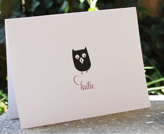 Personalized Stationery Cute Little Wise Owl by camispaperie, $15.00