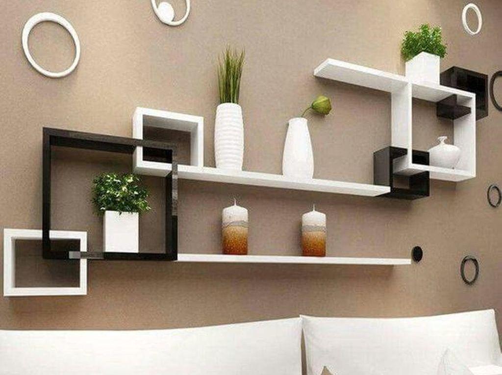 35 Stunning Floating Shelves For Living Room Decor Ideas Belihouse Living Room Decor Rustic Bedroom Design Diy Floating Shelves