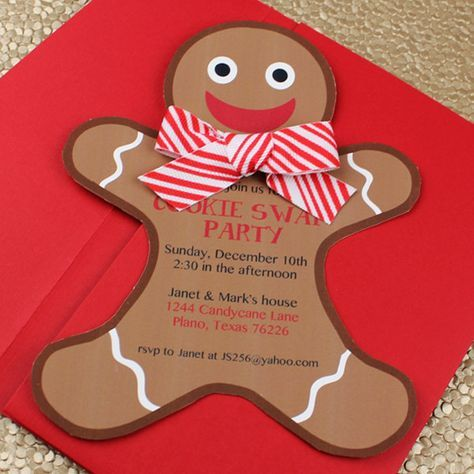Gingerbread Man Holiday Cookie Party Invitation Template Baby
