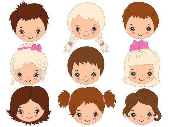 1f3e4f726 Kids Faces Clipart - Digital Vector Girl