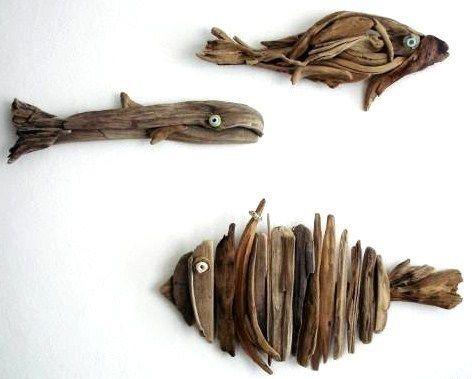 une d co naturelle et originale en bois flott driftwood fish driftwood and fish. Black Bedroom Furniture Sets. Home Design Ideas