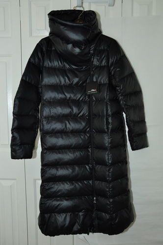 NEW Ralph Lauren RLX Women Black Down Jacket Coat Puffer Parka Long L Large
