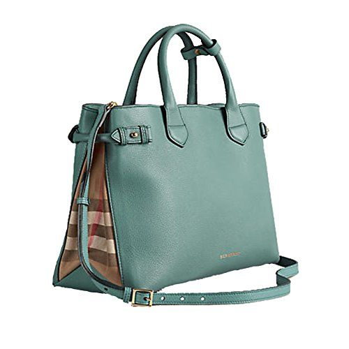 8f17adec65499 Tote Bag Handbag Authentic Burberry Medium Banner in Leather and House Check  Smokeygreen