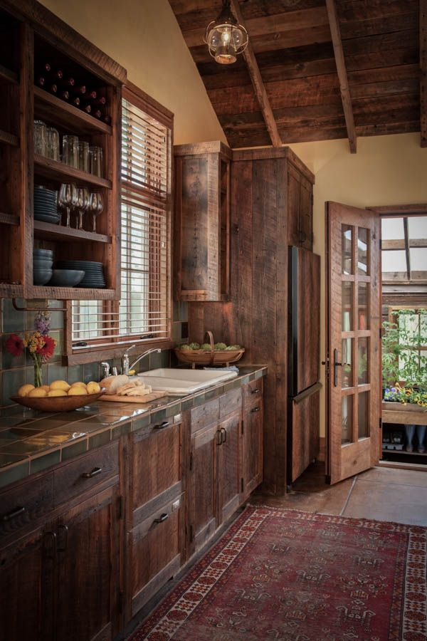 open rustic kitchen cabinets Love the countertop color. Blends perfectly with the