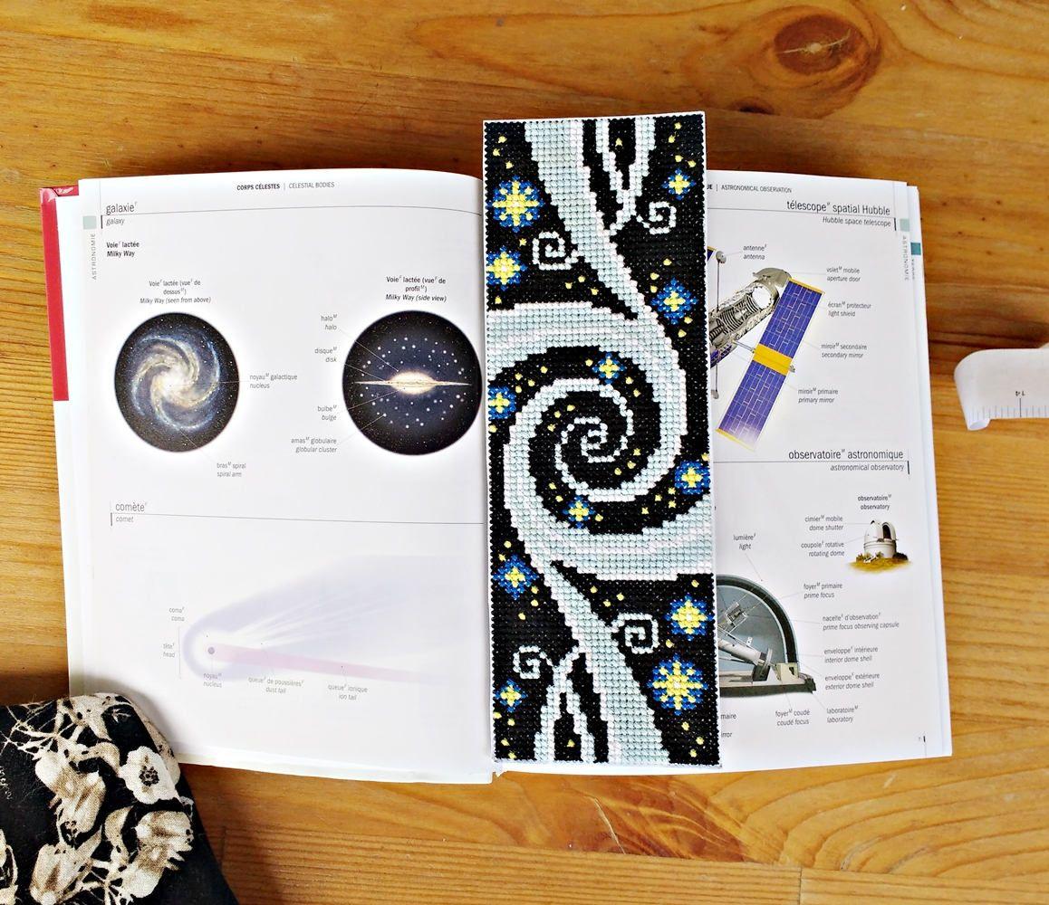 Big Beautiful Galaxy Cross Stitch Bookmark, Stars Night Sky Spiral ...