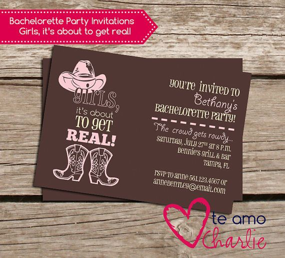 Western Bachelorette Party Invitations Cowgirl by TeAmoCharlie - bachelorette invitation template