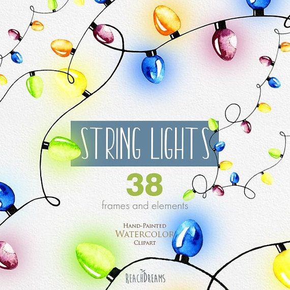 Watercolor String Lights Clipart New Years With Glow