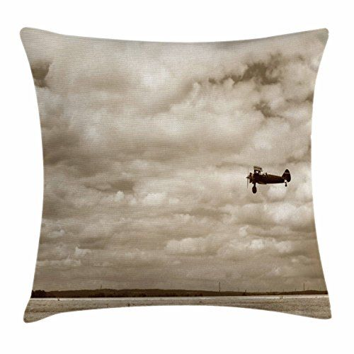 Vintage Airplane Decor Throw Pillow Cushion Cover By Ambesonne Fighter Plane In Dramatic Cloudy Sky Avi Vintage Airplane Decor Airplane Decor Vintage Airplanes