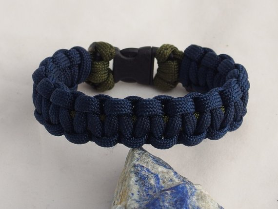 Blue Paracord Bracelet Handcrafted 550 Cord Bracelet In Blue And