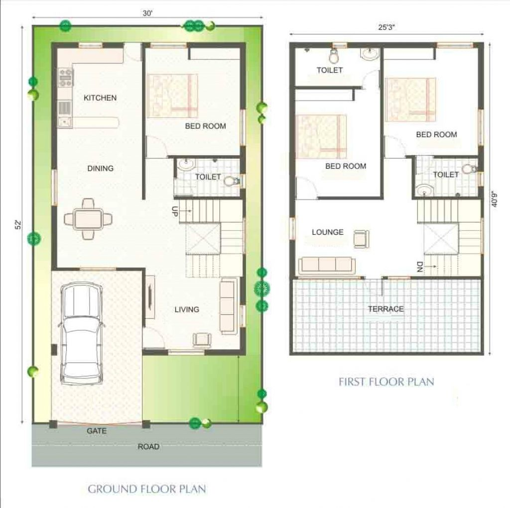 4 indian duplex house plans 600 sq ft 20x30 interesting for Duplex house designs interior