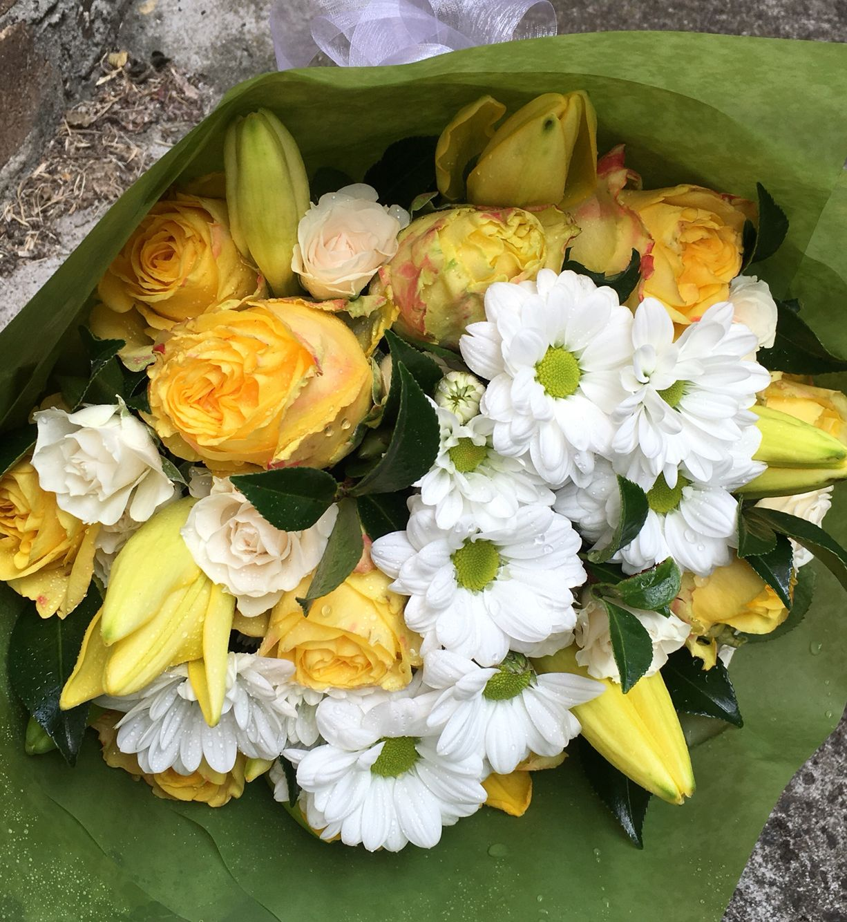 Fresh yellow and white bouquet for a special lady on her 70th Birthday.