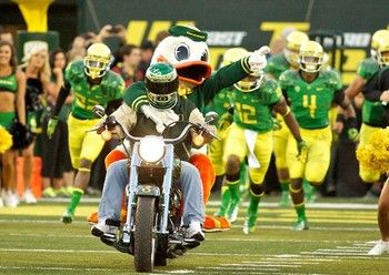The Duck Leads The Oregon Ducks Football Team Out Of The Tunnel On