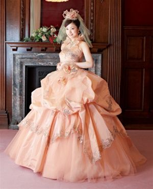 Peach Wedding Dress | Coral, Peach, and Orange Weddings and Gowns ...