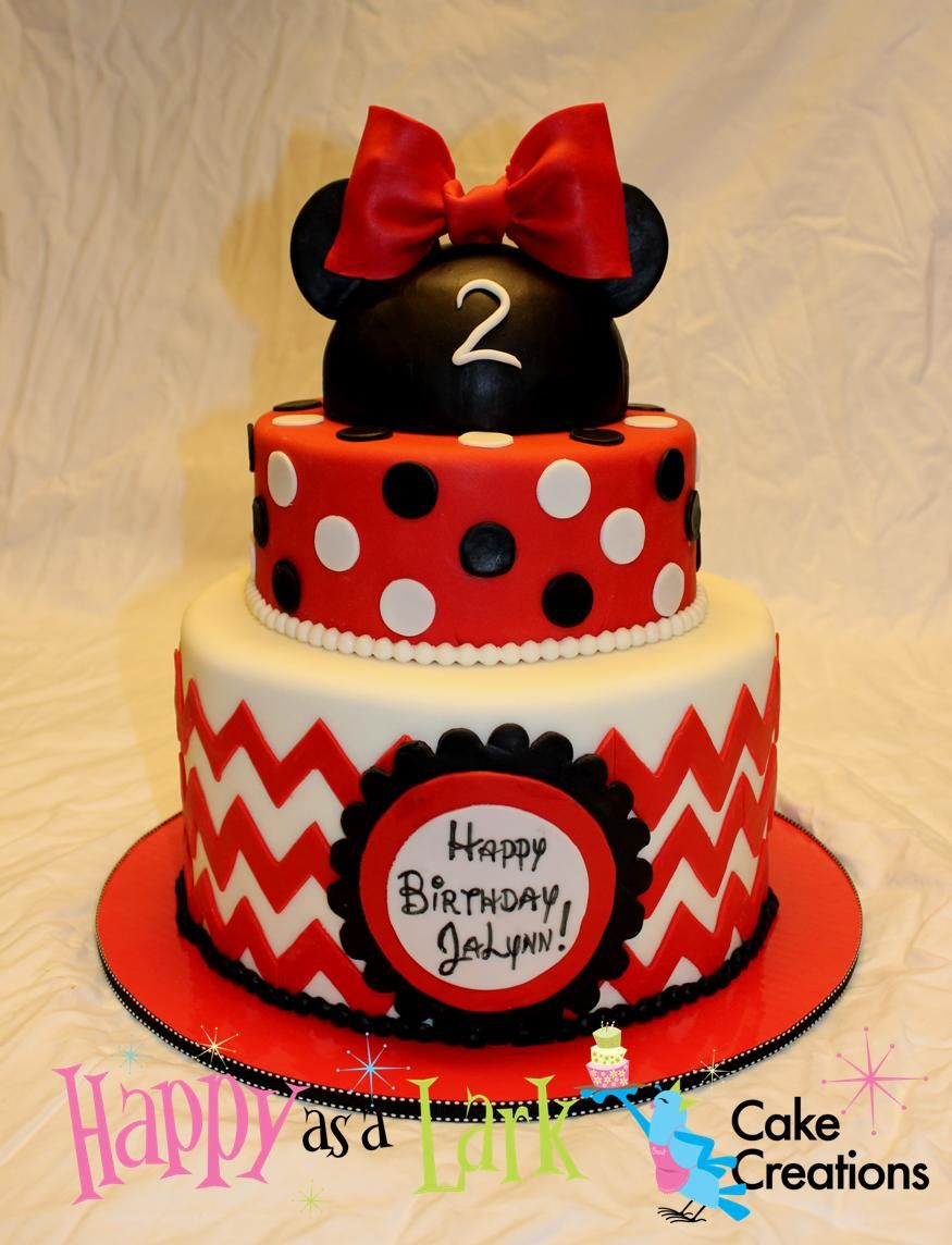 Minnie Mouse chevron polka dot birthday cake Cakes Pinterest