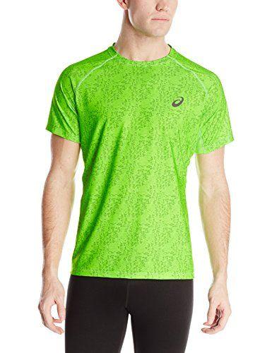 ASICS Mens Fujitrail Light Top, Green Gecko Print, Medium