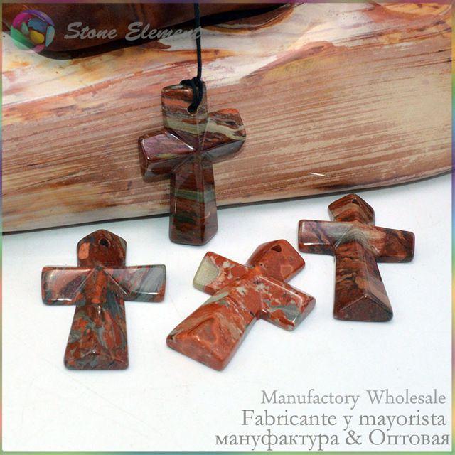 Natural stone cross pendants red breccia jasper 30x45mm 2 pieces natural stone cross pendants red breccia jasper 30x45mm 2 pieces lot aloadofball Image collections