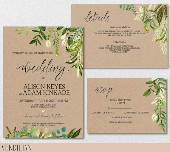 Rustic Wedding Invitation TemplateGreenery Watercolor Wedding Kraft Wedding InvitationDIY Editable PDFDownload Instantly  VRD150KAF