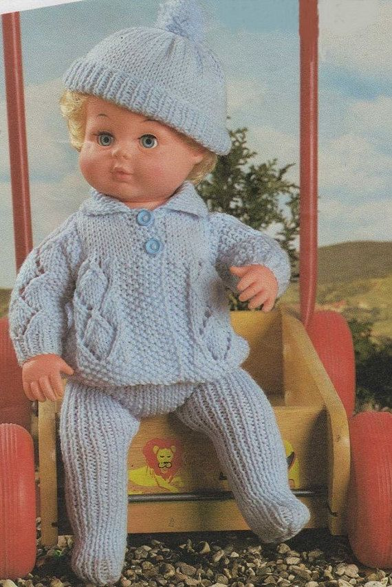 Dolls Clothes PDF Knitting Pattern : Baby Dolly Pram Set . Tiny ...