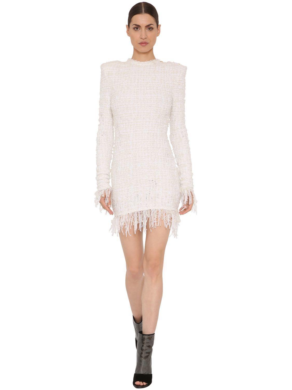 Balmain Fringed Tweed Dress Balmain Cloth Fringe Tweed Tweed Dress Mini Dress [ 1500 x 1125 Pixel ]