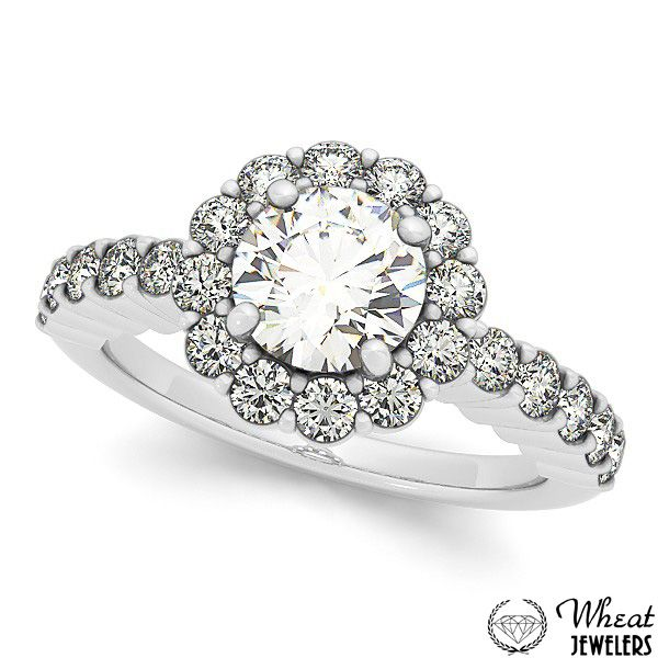 Floral Halo Engagement Ring available at Wheat Jewelers