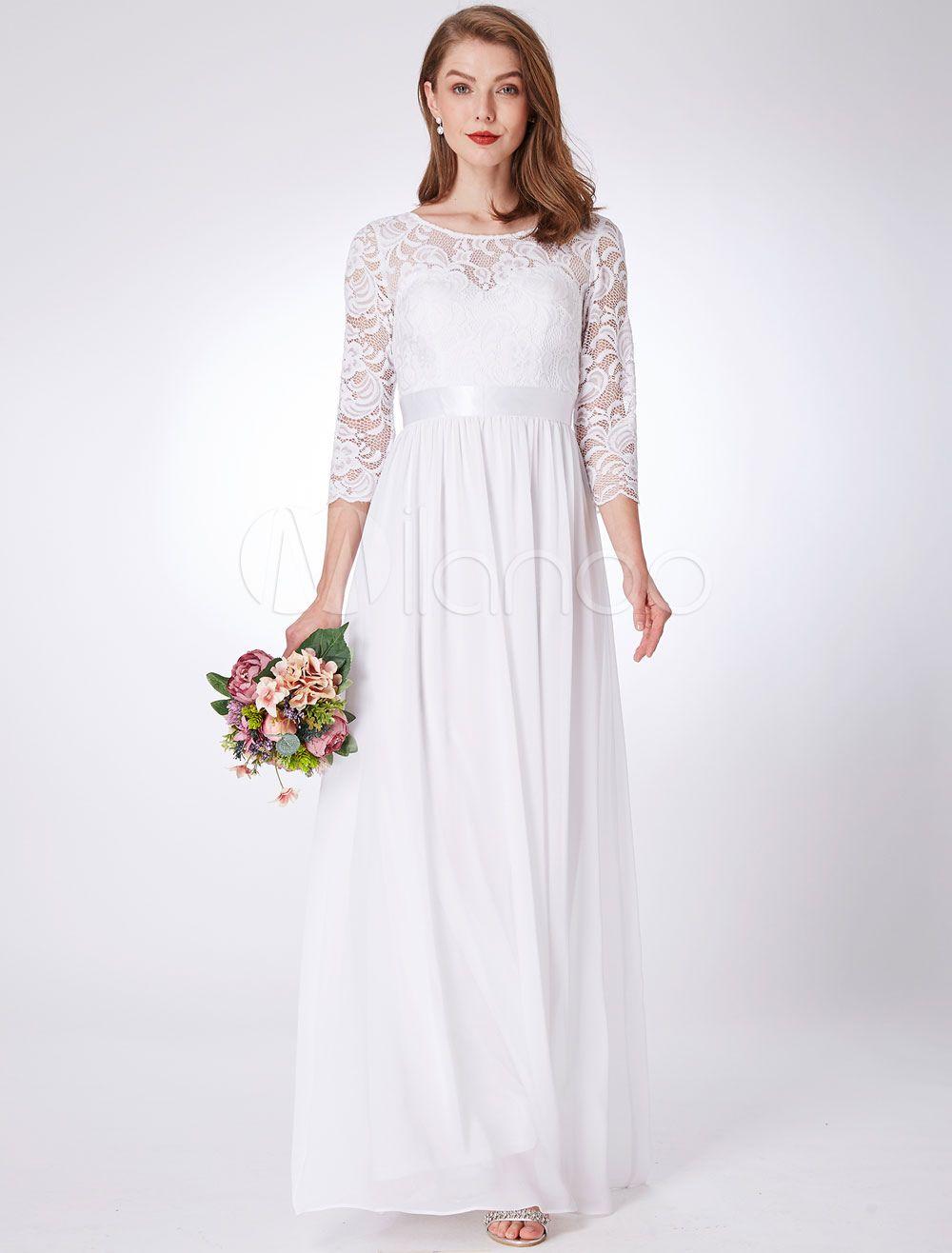 Bridesmaid dresses white lace chiffon half sleeve long prom dress