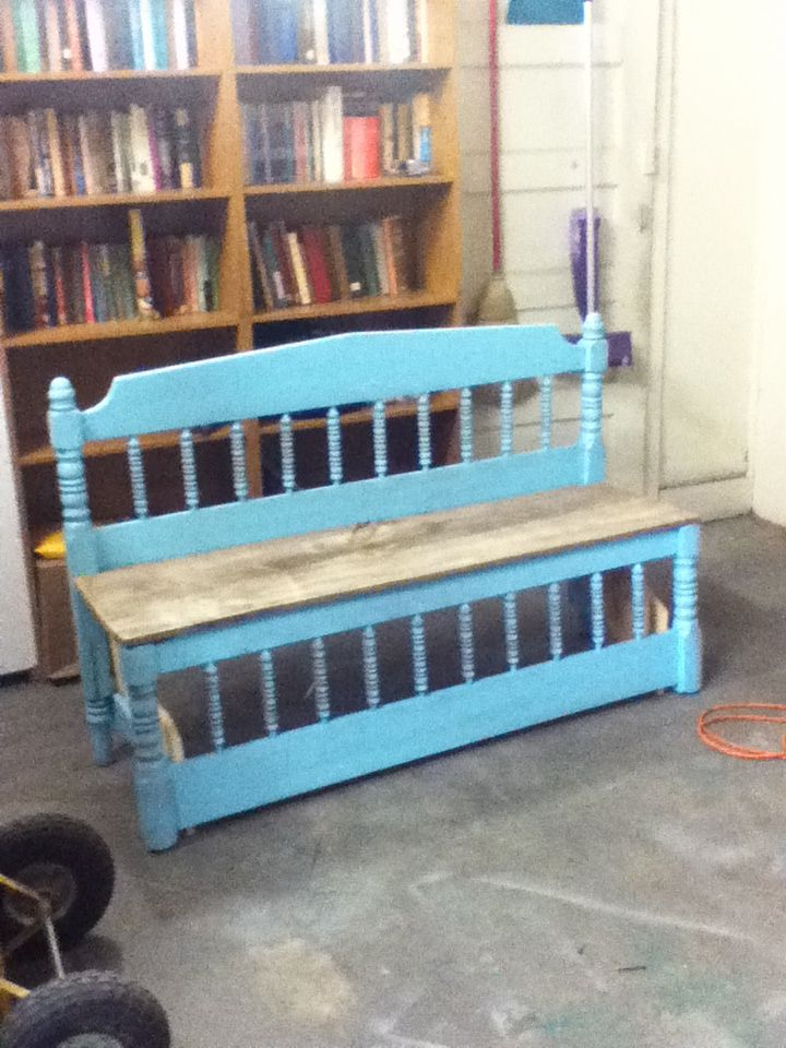 Bed frame bench blue bench pretty easy head board and foot