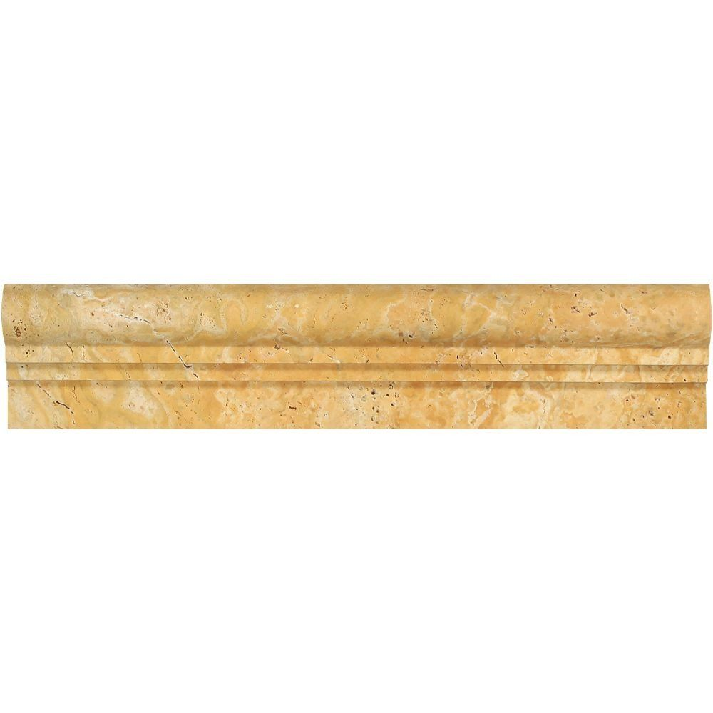 Delightful Travertine Chair Rail 2 X 12 Part - 10: 2 1/2 X 12 Honed Gold Travertine Double-Step Chair Rail Trim