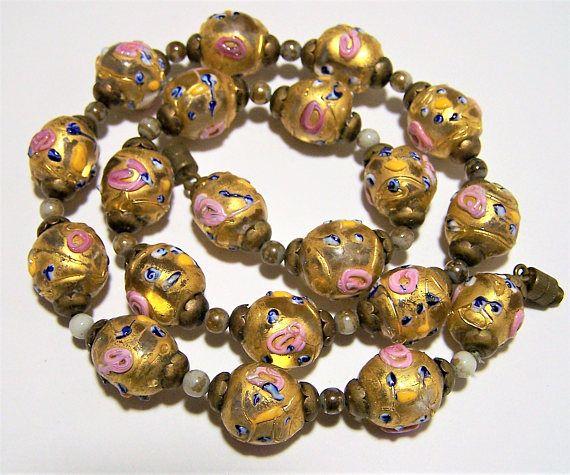 Art Glass Beaded Choker Vintage 1930/'s 1940/'s Clear to Yellow Italian Beads European Art Deco Era Jewelry Venetian Glass Beads Necklace