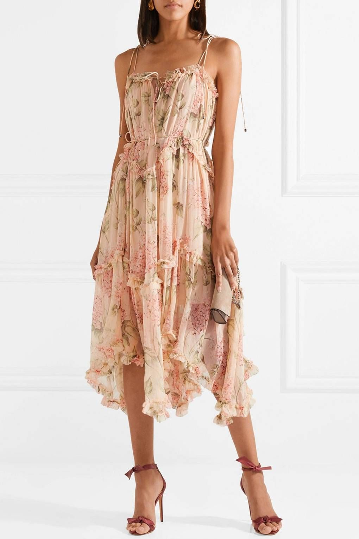 Zimmermann Prima Asymmetric Ruffled Floral Print Silk Georgette Midi Dress 795 Net A Porter Women Silk Dress Fashion Dresses [ 1530 x 1020 Pixel ]