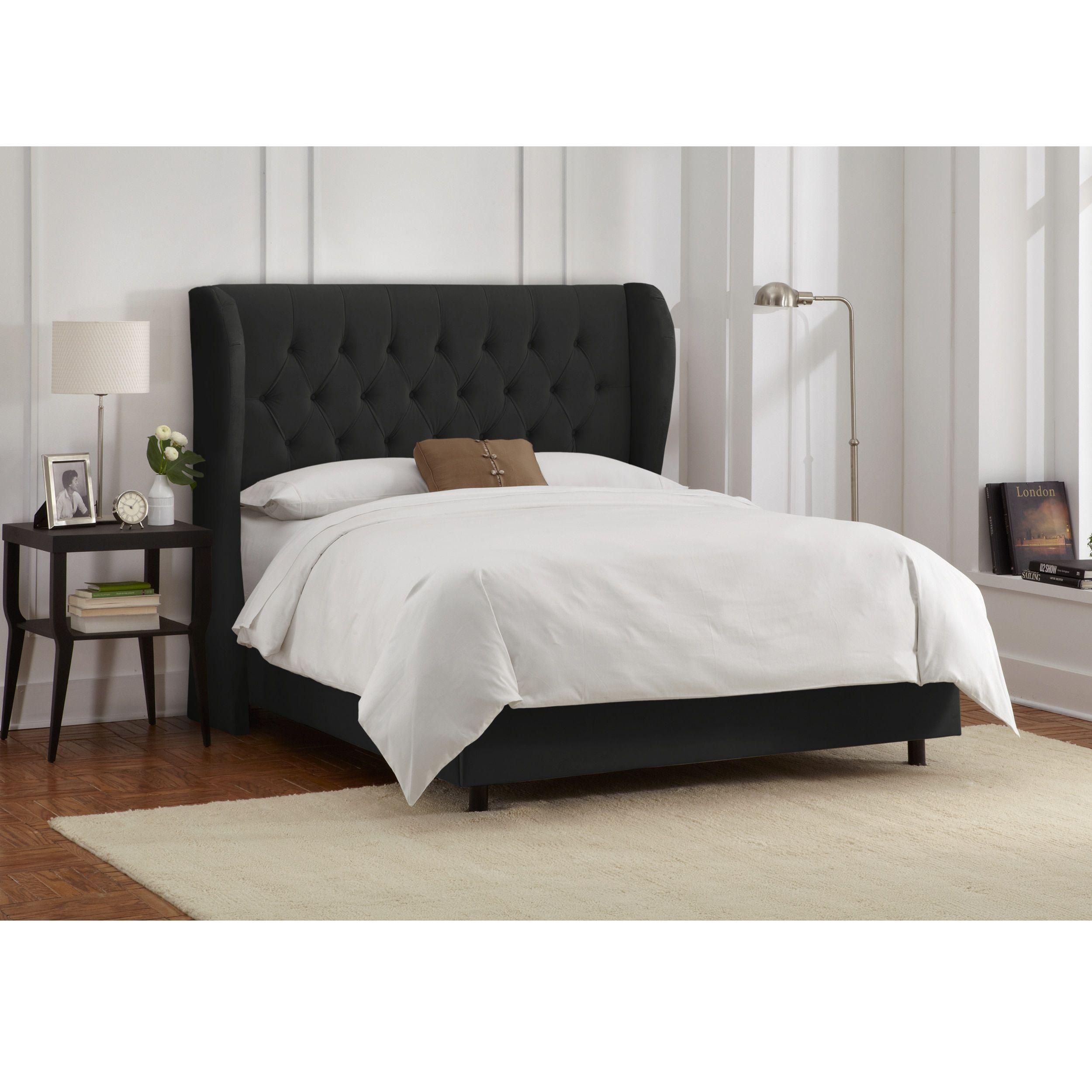 Skyline Furniture Tufted Wingback Bed in Velvet Black (California ...