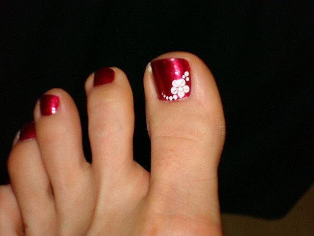 U as decoradas con flores de colores sencillas buscar - Unas de pies decoradas ...