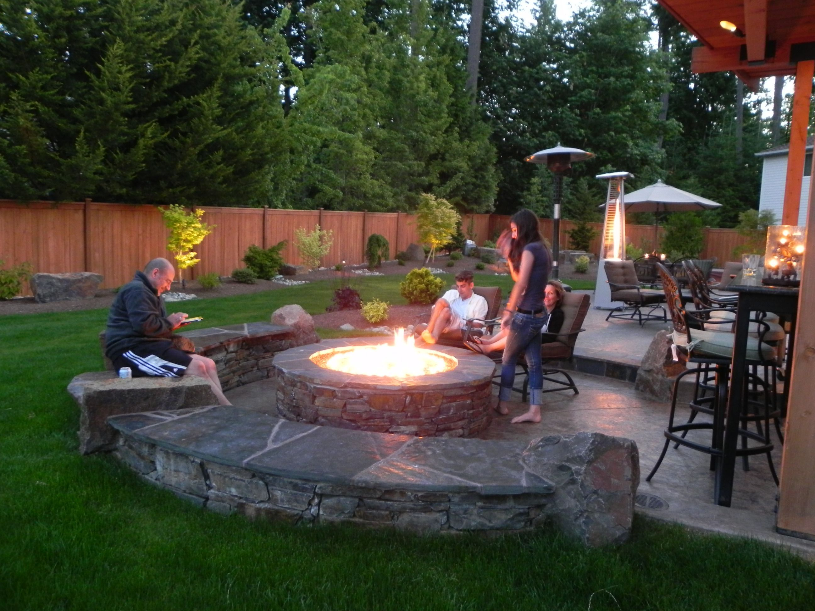 Garden Design With Diy Backyard Landscaping And Wood Patio Ideas - Fire and patio place