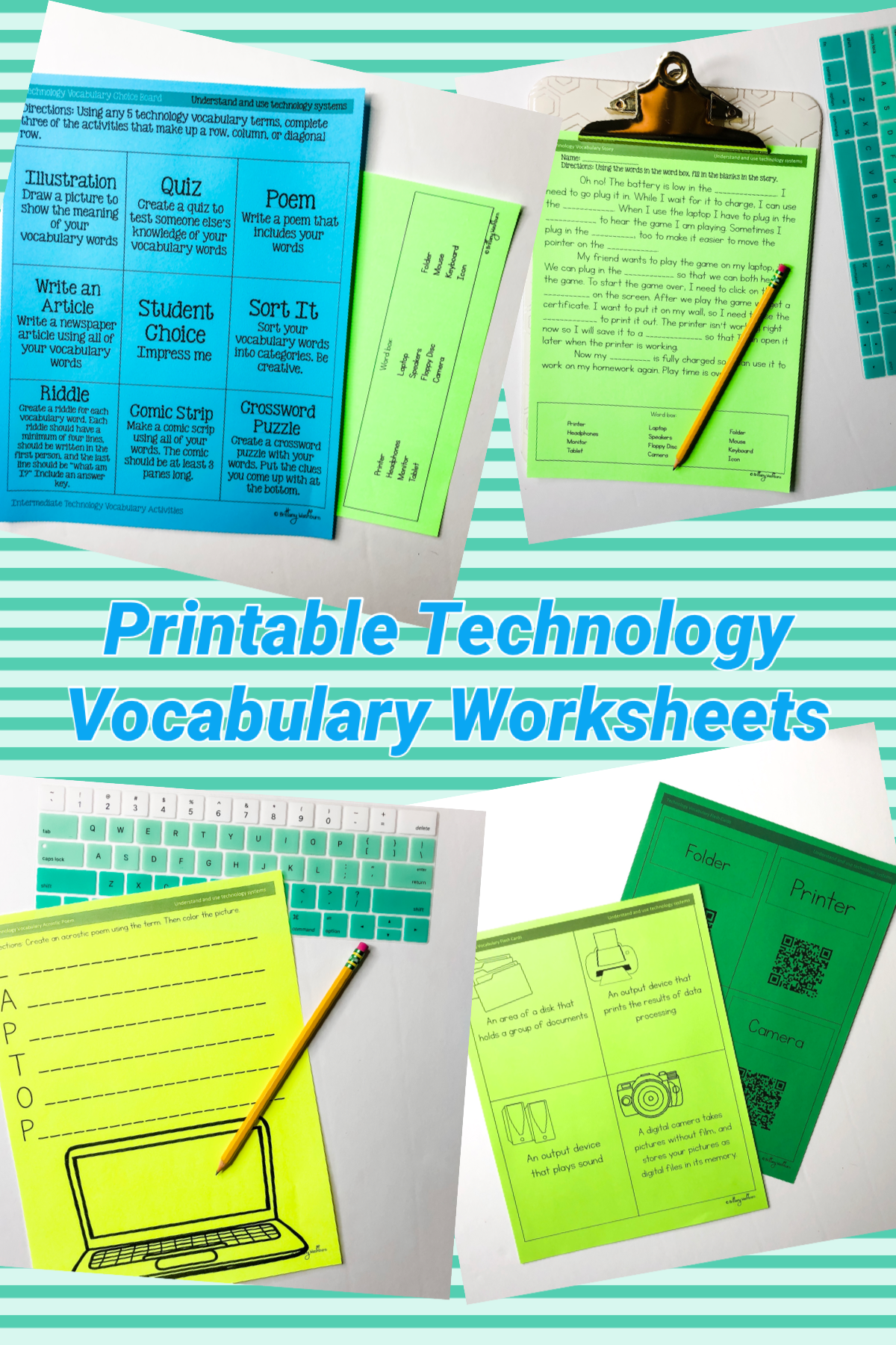 Unplugged Technology Vocabulary Worksheets 3 5 By Brittany