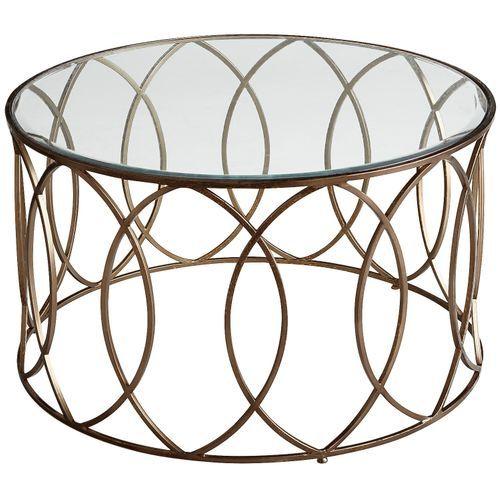 Elana Bronze Iron Round Coffee Table In 2020 Round Glass