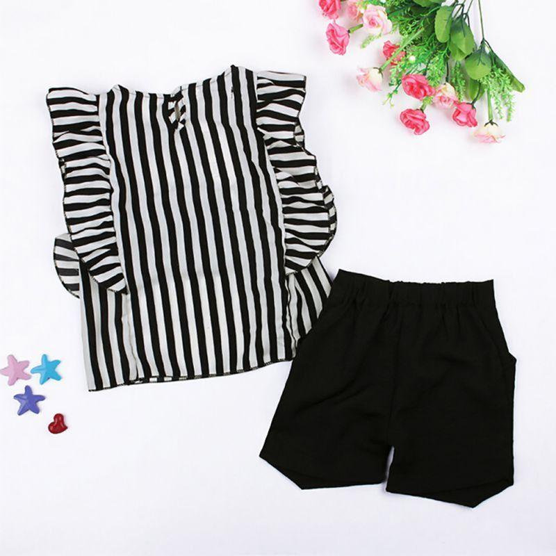 2 Pcs Toddler Kids Baby Girls Summer Clothes Set Ruffled Short Sleeve T-Shirt+Pants Outfits