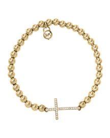 54e35ecae6a8 Michael Kors Michael Kors Pave Cross Bead Bracelet