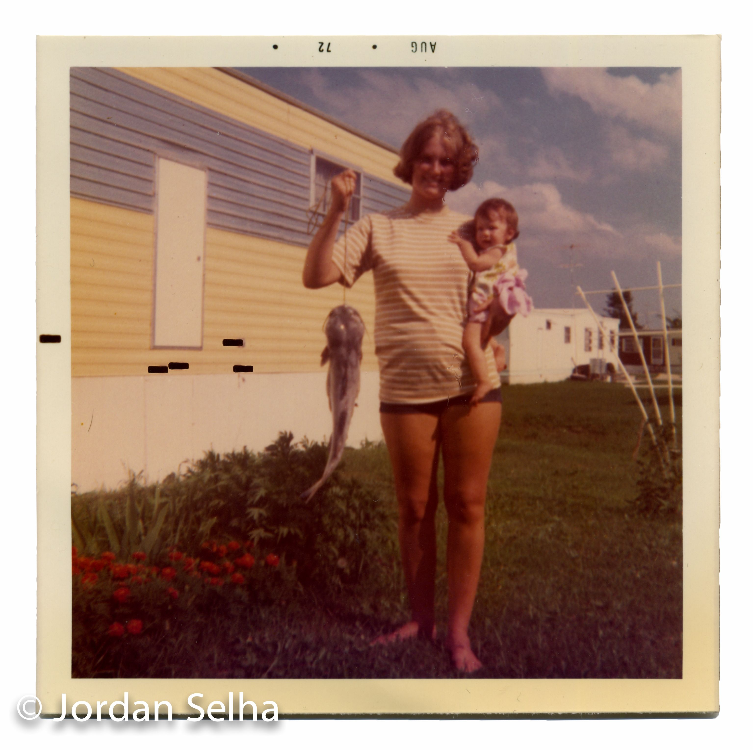 Nostalgia, 1973.  Polaroid of my mom with catfish.  1970s feminism, strength, balance.  Manufactured homes, architecture, trailer park culture.