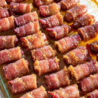 Little Smokies Wrapped in Bacon with Bacon, Smoked Sausages, Brown Sugar. #baconappetizers #baconwrappedsmokies
