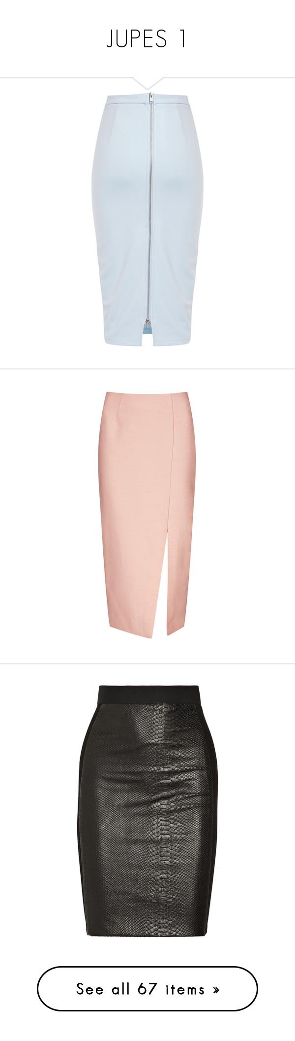 """JUPES 1"" by macopa ❤ liked on Polyvore featuring skirts, blue skirt, faldas, pencil skirt, pink, saias, knee length pencil skirt, pink knee length skirt, pink pencil skirt and pink skirt"