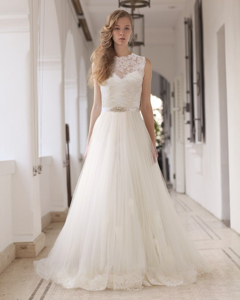 LM By Lusan Mandongus Illusion Neck A Line Mermaid Wedding Dress Gown