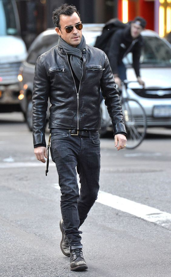 Justin Theroux wearing Black Leather Bomber Jacket, Black Jeans ...