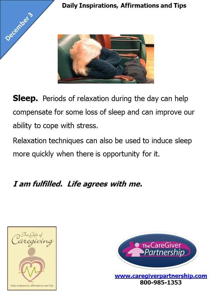 December 3 Daily CareGiver Affirmation: Sleep #caregiver #caregiving