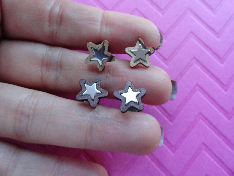 Wood star fake plug gauge stud earrings funky and unique star fake